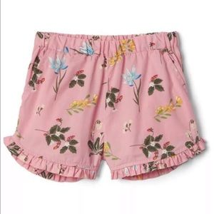 Gap Girls Pink Floral Ruffle Shorts